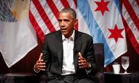 Mantan Presiden AS, Barack Obama untuk pertama kalinya muncul di depan masyarakat sejak meninggalkan Gedung Putih