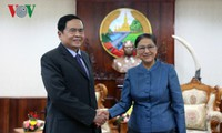 Ketua Parlemen Laos menerima Delegasi Tingkat Tinggi Pengurus Besar Front Tanah Air Vietnam