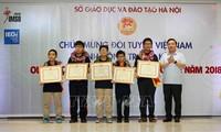Hanoi memulji para pelajar yang meraih penghargaan Olimpiade Matematika dan Ilmu Pengetahuan Internasional IMSO 2018