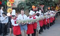 Giant savoury Tet cake made in Nha Trang