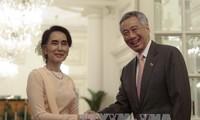 缅甸国务资政昂山素季对新加坡进行正式访问