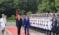 陈大光主持对印度尼西亚总统维多多的欢迎仪式