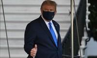 美国总统特朗普在检测阳性后首次公开露面