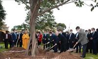 越共中央总书记、国家主席阮富仲在升龙皇城植树留念