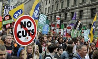 Tens of thousands of people protests austerity across Britain