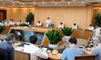 Bộ Y tế làm việc với UBND thành phố Hà Nội bàn các biện pháp phòng, chống dịch.