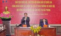 Chủ tịch Quốc hội Vương Đình Huệ làm việc tại Thành phố Hải Phòng