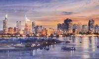 Thành phố Hồ Chí Minh đẹp tráng lệ và nhộn nhịp qua tranh màu nước của Đoàn Quốc
