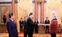 Presidente de Vietnam recibe a nuevos embajadores extranjeros