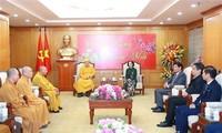 Truong Thi Mai reçoit une délégation de l'Église bouddhique du Vietnam