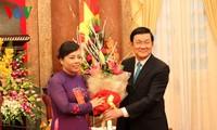 ท่านเจืองเติ๊นซาง ประธานประเทศให้การต้อนรับแพทย์ดีเด่นทั่วประเทศ