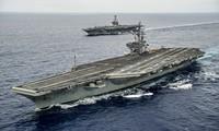 สหรัฐส่งเรือบรรทุกเครื่องบินสองลำมาเข้าร่วมการซ้อมรบในทะเลตะวันออก