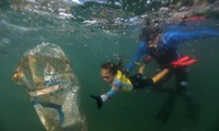 In Rio, a 4-year-old girl clears plastic waste from the ocean