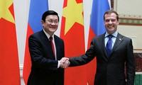 ประธานประเทศท่านเจืองเติ้นซางเข้าเยี่ยมคารวะนายกฯรัสเซียนาย ดิมีตรี เมดเวเดฟ