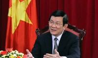 ประธานประเทศเวียดนามTrương Tấn Sang เดินทางไปเยือนและอวยพรตรุษเต๊ตบรรดานักวิทยาศาสตร์