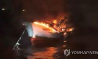 Chưa tìm thấy các thuyền viên mất tích do cháy tàu cá tại Hàn Quốc
