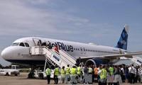 古巴接待50年来首架美国商业航班