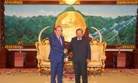 Phó Thủ tướng thường trực Trương Hòa Bình chào xã giao Tổng Bí thư – Chủ tịch nước và Thủ tướng Lào