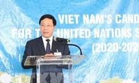 รณรงค์ให้ประเทศต่างๆสนับสนุนเวียดนามสมัครเข้าเป็นสมาชิกไม่ถาวรของคณะมนตรีความมั่นคงแห่งสหประชาชาติ