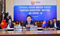东盟和美国外交官员就抗击新冠肺炎疫情合作举行视频会议