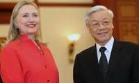 Dirigentes vietnamitas reciben a la secretaria norteamericana de Estado