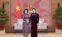 ประธานสภาแห่งชาติ เหงียนถิกิมเงิน ให้การต้อนรับรองประธานสภาแห่งชาติคนที่ 2 ของรัฐสภากัมพูชา