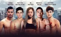 """Vier Boxer mit dem Familienname Nguyen kämpfen auf der Bühne """"One Championship Vietnam"""""""