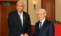 越共中央总书记阮富仲会见缅甸总统吴廷觉