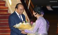 阮春福抵达内比都 开始对缅甸进行正式访问