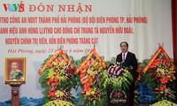 "Staatspräsident Tran Dai Quang bei Verleihung des Titels ""Held der Volksstreitkräfte"" in Hai Phong"