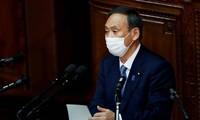 Japans Premierminister Suga Yoshihide hält Rede über Politik auf Parlamentssitzung