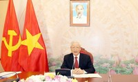 KPV-Generalsekretär, Staatspräsident Nguyen Phu Trong telefoniert mit seinem laotischen Amtskollegen Thongloun Sisoulith