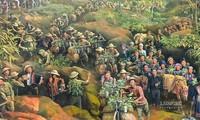 Eindruck von Wandbildern über den Sieg in Dien Bien Phu