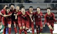 Vietnamesische Frauenfußballmannschaft bei Fußball-Asienmeisterschaft in Gruppe B
