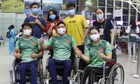 Vietnamesische Sportler mit Behinderungen sind zu Paralympics Tokio 2020 in Japan angekommen