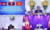 Primer ministro de Vietnam dialoga con sus pares de Camboya y Laos