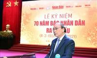 Periódico Nhan Dan debe ser el medio de comunicación líder y representante del PCV, dice primer ministro