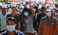 Protesta la oposición resultados electorales en Cambodia