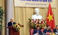응우옌 푸 쫑 서기장 – 국가주석,  주석사무처 업무시행회의에 참여