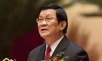 Presiden Vietnam Truong Tan Sang mengahdiri upacara pengumuman  Zona Peringatan Ton Duc Thang sebagai situs peninggalan nasional  istimewa