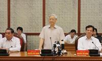 Bộ Chính trị làm việc với Ban Thường vụ Tỉnh ủy Nghệ An