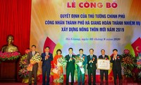Thủ tướng Chính phủ công nhận thành phố Hà Giang hoàn thành nhiệm vụ xây dựng nông thôn mới