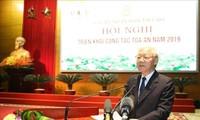 เลขาธิการใหญ่พรรค ประธานประเทศเหงวียนฟู้จ่องชี้นำการประชุมวางแนวทางการปฏิบัติงานของหน่วยงานศาลปี 2019