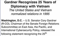 ส.ว.สหรัฐออกแถลงการณ์ในโอกาสครบรอบ 25ปีการปรับความสัมพันธ์ทางการทูตเวียดนาม-สหรัฐ