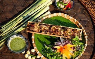 Grilled pork in bamboo tube, a specialty of the Central Highlands