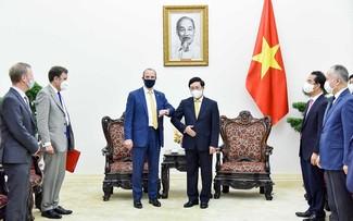 Phó Thủ tướng Chính phủ Phạm Bình Minh tiếp Bộ trưởng Ngoại giao và Phát triển Anh