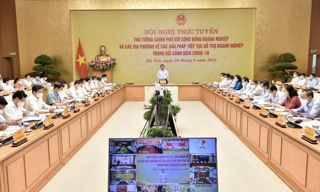 Konferensi Virtual Pemerintah dengan Komunitas Badan Usaha dan Semua Daerah tentang Solusi Bantu Badan Usaha di Tengah Pandemi Covid-19