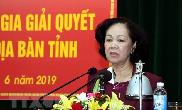 Чыонг Тхи Май: необходимо ставить превыше всего интересы населения