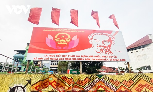 Flags, banners displayed in Hanoi ahead of national election day