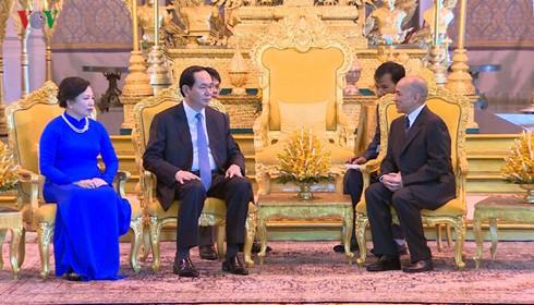 President Tran Dai Quang holds talks with Cambodian King Norodom Sihamoni